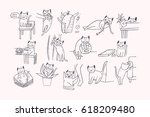 set of problem with cat... | Shutterstock .eps vector #618209480