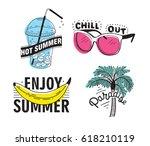 vector set of hand drawn... | Shutterstock .eps vector #618210119