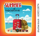 summer vacation template poster ... | Shutterstock .eps vector #618211874