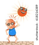 old man stood under the sun on... | Shutterstock .eps vector #618216389