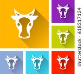 illustration of six cow head... | Shutterstock .eps vector #618217124