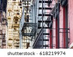 fire escapes on the side of... | Shutterstock . vector #618219974