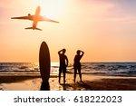surfer man and girlfriend...   Shutterstock . vector #618222023