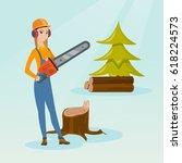 caucasian female lumberjack... | Shutterstock .eps vector #618224573