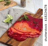 gravlax   cured salmon | Shutterstock . vector #618224678