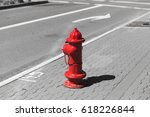 red fire hydrant in otherwise...