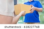 postal   delivery of a package... | Shutterstock . vector #618227768