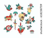 old school tattoo elements... | Shutterstock .eps vector #618238709