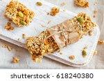 organic homemade granola bars... | Shutterstock . vector #618240380