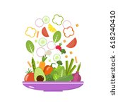 vegetable plate. slices of... | Shutterstock .eps vector #618240410