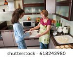 granddaughter and grandmother... | Shutterstock . vector #618243980