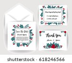 wedding invitation flower card... | Shutterstock .eps vector #618246566