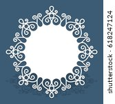circle card with lace border... | Shutterstock .eps vector #618247124