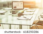 workplace with laptop and... | Shutterstock . vector #618250286
