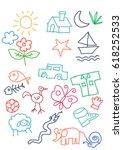 kids doodle colorfull random...   Shutterstock . vector #618252533