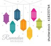 ramadan mubarak with lantern...   Shutterstock .eps vector #618255764