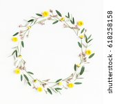 flowers composition. wreath... | Shutterstock . vector #618258158