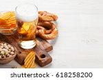 lager beer mug and snacks on...   Shutterstock . vector #618258200