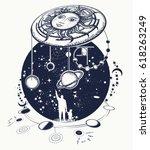 human and universe tattoo art.... | Shutterstock .eps vector #618263249