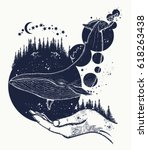 whale tattoo art. symbol of a... | Shutterstock .eps vector #618263438