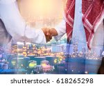 double exposure of business... | Shutterstock . vector #618265298