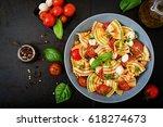 pasta colored farfalle salad...   Shutterstock . vector #618274673