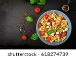 pasta colored farfalle salad...   Shutterstock . vector #618274739