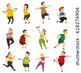 funny fat people are doing... | Shutterstock .eps vector #618274904