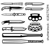 set of gangsta weapon. knives ... | Shutterstock .eps vector #618275294
