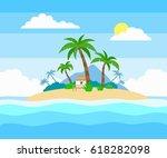 tropical island in the ocean... | Shutterstock .eps vector #618282098