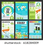 ecology poster template set.... | Shutterstock .eps vector #618284009