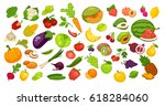 natural organic fruit and... | Shutterstock .eps vector #618284060