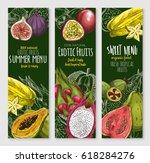exotic fruits banners of orange ... | Shutterstock .eps vector #618284276