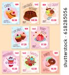 price tags for bakery desserts. ... | Shutterstock .eps vector #618285056