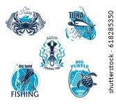 sea fishing club badges set of...   Shutterstock .eps vector #618285350