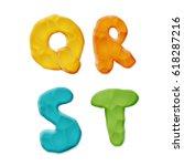 plasticine q  r  s  t letters...   Shutterstock .eps vector #618287216