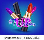 makeup red lipstick advertising ... | Shutterstock .eps vector #618292868