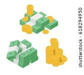 set heaps of money. various... | Shutterstock .eps vector #618294950