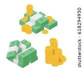 set heaps of money. various... | Shutterstock .eps vector #618294950