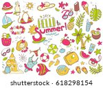 vector cute doodle collection... | Shutterstock .eps vector #618298154