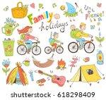 vector set of cute doodle... | Shutterstock .eps vector #618298409