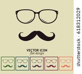 mustache and glasses vector... | Shutterstock .eps vector #618312029