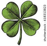 clover with four leaf   vintage ... | Shutterstock .eps vector #618313823