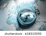 compass on map background in... | Shutterstock . vector #618315050