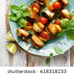 grilled skewers of halloumi... | Shutterstock . vector #618318233