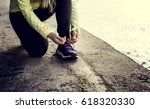 woman morning running exercise... | Shutterstock . vector #618320330