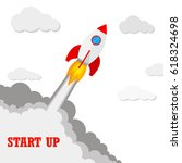 start up of the space rocket.... | Shutterstock .eps vector #618324698