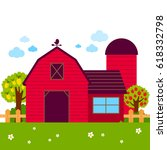 landscape with barn  farmhouse  ... | Shutterstock .eps vector #618332798