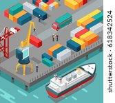 port warehouse. cargo... | Shutterstock . vector #618342524