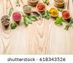 assortment of colorful spices... | Shutterstock . vector #618343526